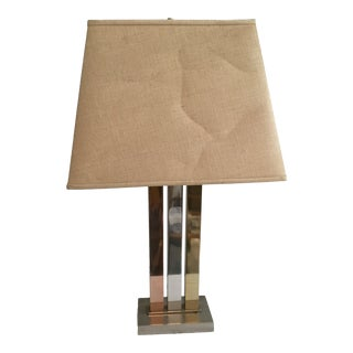 Metal Column Table Lamp For Sale