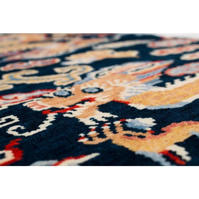 Textile Indigo Blue, Red, Green, Orange Wool Tibetan Double Dragon Area Rug For Sale - Image 7 of 8
