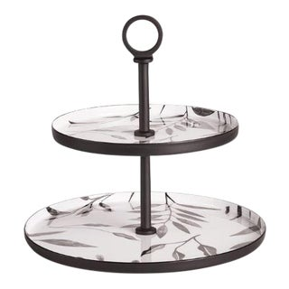 Kenneth Ludwig Chicago Leaf 2-Tier Round Tray For Sale