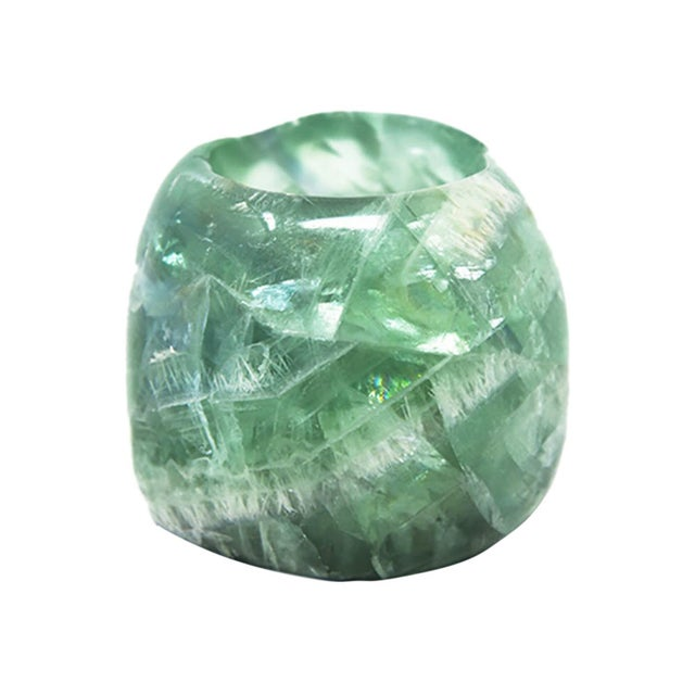 Emerald fluorite tea light candle holder. Due to the natural handcrafted materials used, variation in size, shape, and...