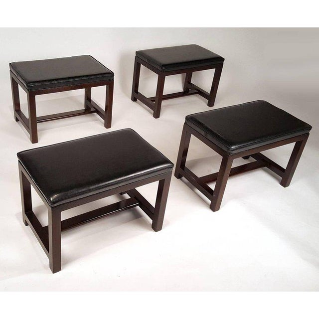 Mid-Century Modern Two Pairs of Solid Mahogany Stools by Edward Wormley for Dunbar For Sale - Image 3 of 9