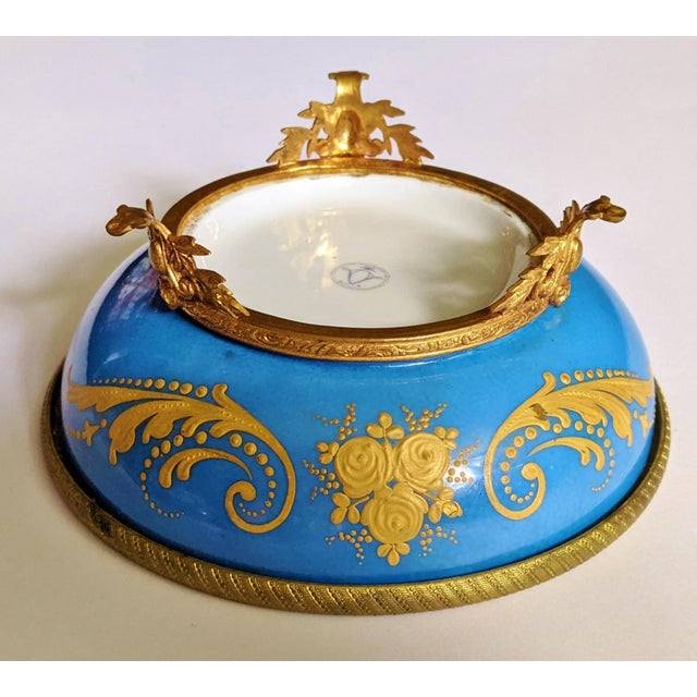 Metal Antique French Gilt Bronze & Porcelain Sevres Jewelry Box / Potpourri For Sale - Image 7 of 13