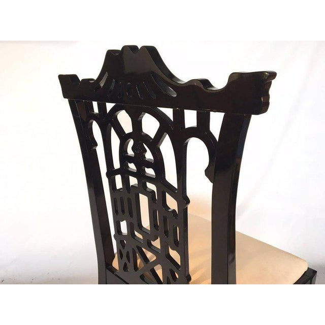 Set of 4 Black Lacquer Asian Chinoiserie Pagoda Dining Chairs For Sale - Image 6 of 9