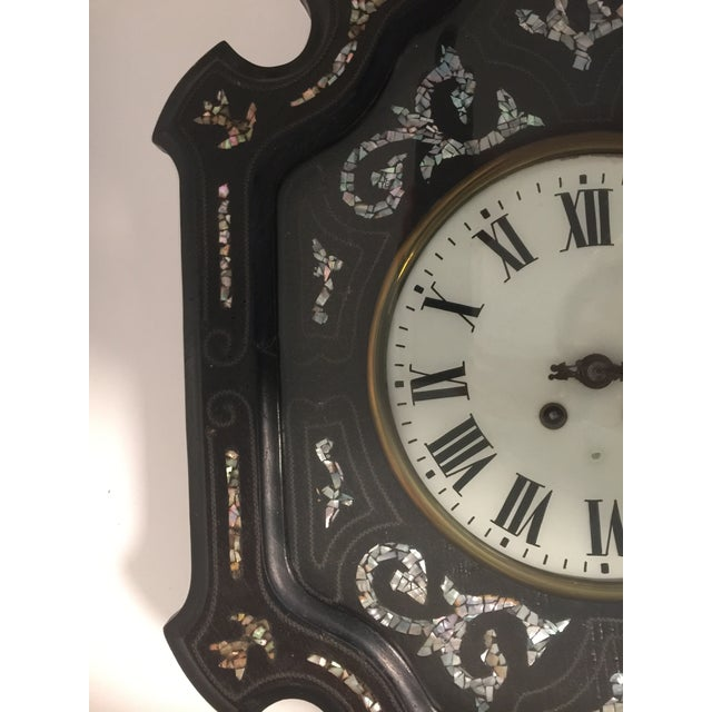 Napoleon III Ebony and Mother of Pearl Inlay Wall Clock For Sale In Savannah - Image 6 of 11