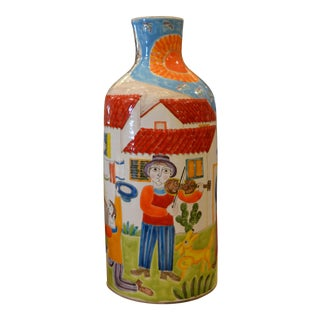 Desimone Hand Painted Art Pottery Musicians & Proposal Scene Flower Vase, Italy For Sale