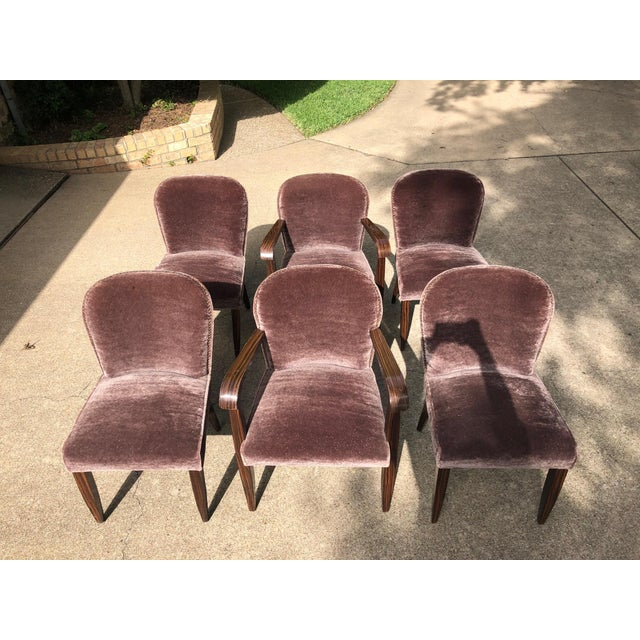 1930s Vintage Macassar and Mohair Dining Chairs - Set of 6 For Sale - Image 11 of 11