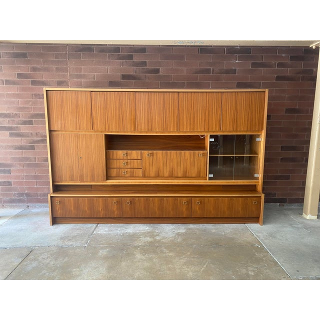 1970s West Germany MCM Mid Century Modern Wood Wall Unit Bar Cabinet For Sale - Image 13 of 13