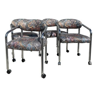 1980s Vintage Milo Baughman Floral Upholstered and Chrome Dining Chairs - Set of 4 For Sale