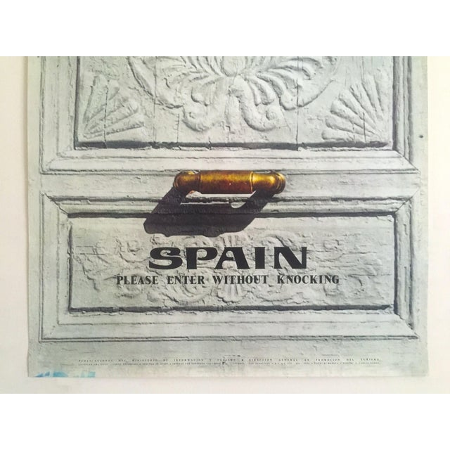 """Late 20th Century Vintage Mid Century Rare """" Please Enter Without Knocking """" Collector's Spain Travel Poster For Sale - Image 5 of 13"""
