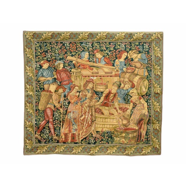 "70""x 62"" French Wall Hanging Tapestry Jacquard Mille-Fleures Medieval Winemakers For Sale - Image 10 of 10"