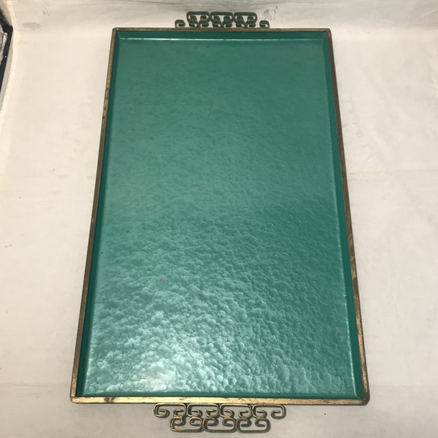 Boho Chic 1960s Teal & Blue Kyes Metal Trays - a Pair For Sale - Image 3 of 6