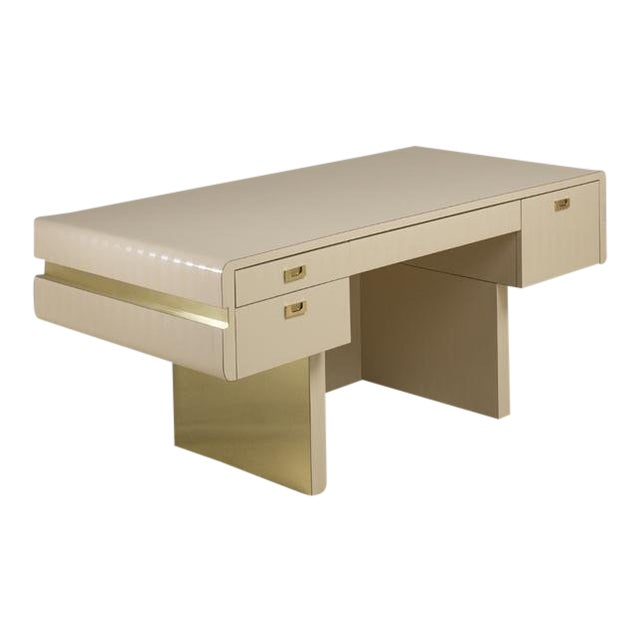 Pace Attributed Pedestal Based Brass and Ivory Mica Wrapped Desk, 1970s For Sale