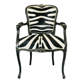 Vintage Zebra Cowhide Upholstered Side Chair