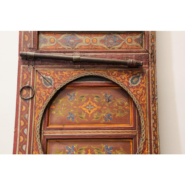 19th Century 19th Century Moroccan Antique Double Door With Hand Painted Moorish Designs For Sale - Image 5 of 13