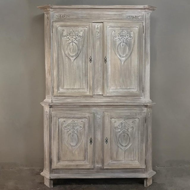 19th Century Country French Louis XVI Stripped Buffet a Deux Corps For Sale - Image 13 of 13