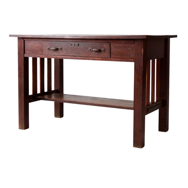 Antique Mission Style Desk - Image 1 of 8