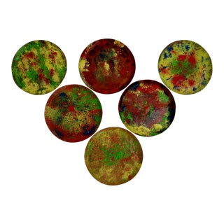 Vintage Copper Enamel Coasters, Set of 6 For Sale