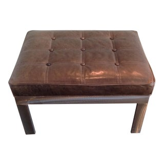 Contemporary Khaki Green Leather Tufted Ottoman For Sale