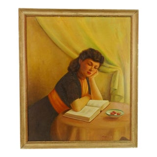 1940s Portrait of Woman Reading With Cherries Painting For Sale