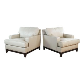 Ethan Allen Leather Club Chairs- A Pair For Sale