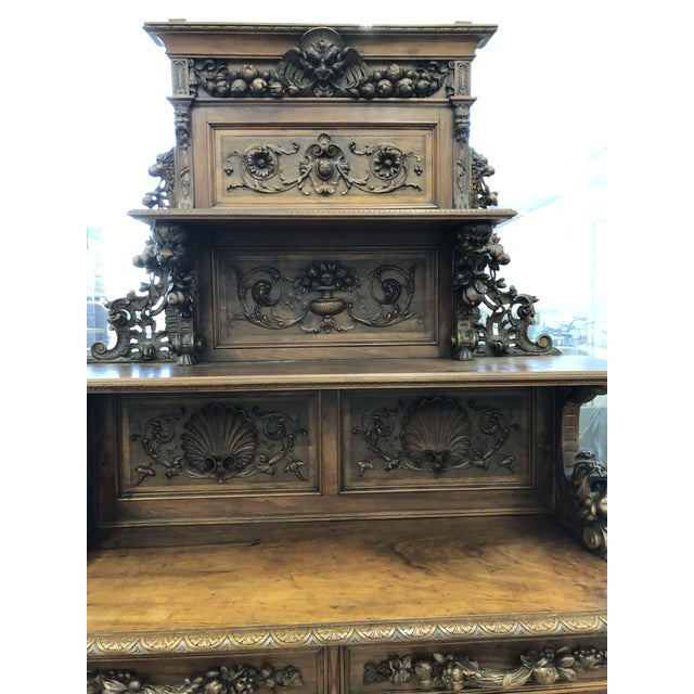19th Century St. Hubert French Louis XIII Carved Walnut Buffet For Sale In Atlanta - Image 6 of 11
