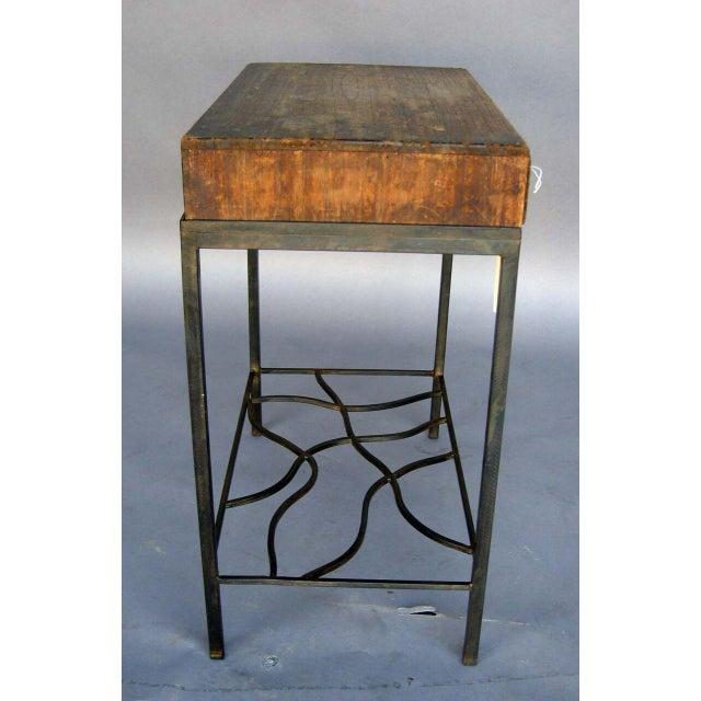 Antique Japanese Storage Box On Handwrought Iron Base For Sale - Image 4 of 8