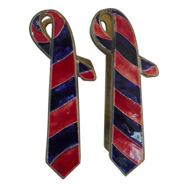 """French Pair of French Brass and Ceramic """"Ties"""" Door Pulls For Sale - Image 3 of 5"""