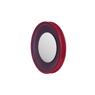 Round Floating Mirror in Eggplant / Chinaberry Crimson - Jeffrey Bilhuber for The Lacquer Company For Sale