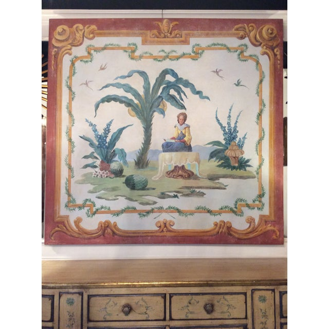 Beautiful, unusually large hand painted fresco style painting on stretched canvas. The piece is from the '50s.