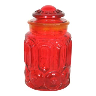 Le Smith Moon and Stars Amberina Large Sugar Cookie Candy Jar With Lid For Sale