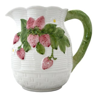 Italian Majolica Pink and Green Strawberry Basketweave Pitcher For Sale