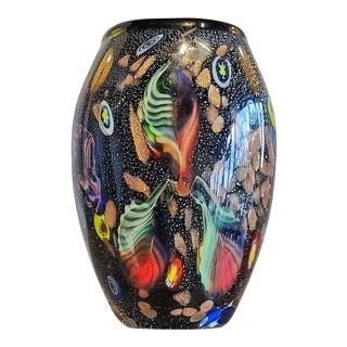 Murano Glass Vase With 'Tutti Frutti' Decor, 1950s Italy For Sale