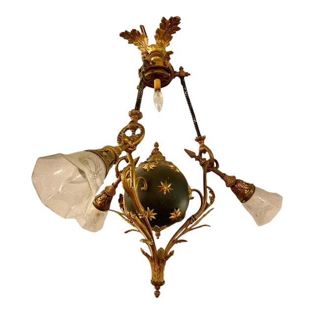 Antique French Empire Style Chandelier Ebonized Sphere With Bronze Surrounds For Sale