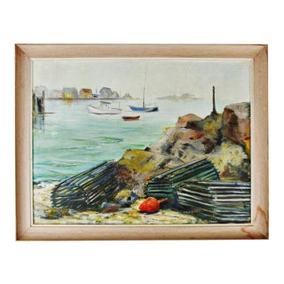 Vintage Framed Original Nautical Oil on Canvas Painting Lobster Traps - Artist Signed For Sale