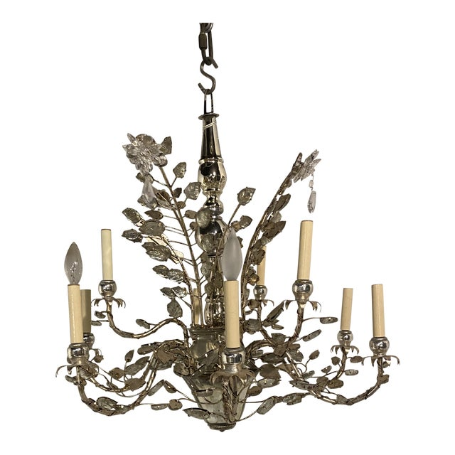 1930s French Silver Leaves Chandelier For Sale