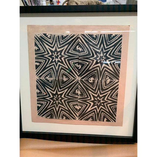 Estate find, 1970's original black and white ink on Salmon paper, newly framed.