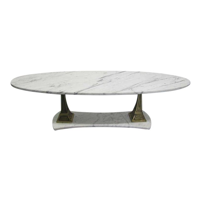 Italian Marble and Brass Oval Top Coffee Table - Image 1 of 6