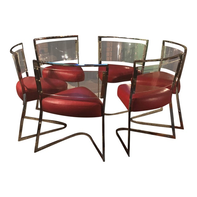 1970 Vintage Pie Wedge Form Leather/Vinyl Chrome and Lucite Chairs - Set of 6 For Sale