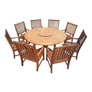 Nauteak Maritime Heritage Teak Outdoor Dining Set- Set of 9 For Sale