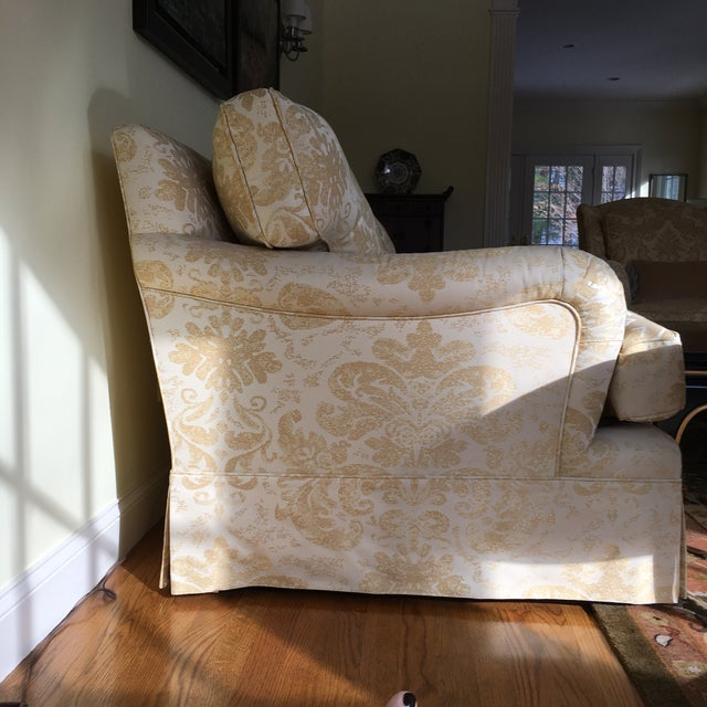 """Like new custom made english arm sofa. Upholstered in pale yellow and tan/taupe Robert Allen Embroidered Damask. 84"""" W X..."""