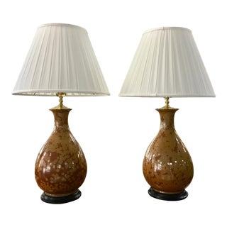 Baker Brown Speckled Lamps- Pair