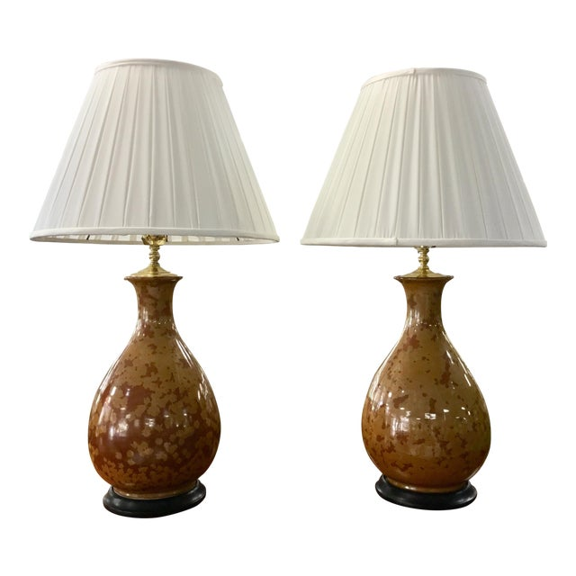Baker Brown Speckled Lamps- Pair For Sale