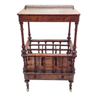 Antique English Finest Burled Walnut and Satinwood Canterbury, Circa 1860-1870.