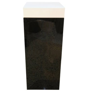 Illuminated Pedestal in Black and White Lucite For Sale