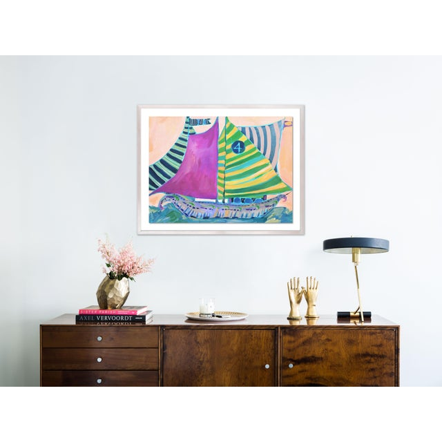 Contemporary SB Staniel Cay by Lulu DK in White Wash Framed Paper - Medium Art Print For Sale - Image 3 of 4