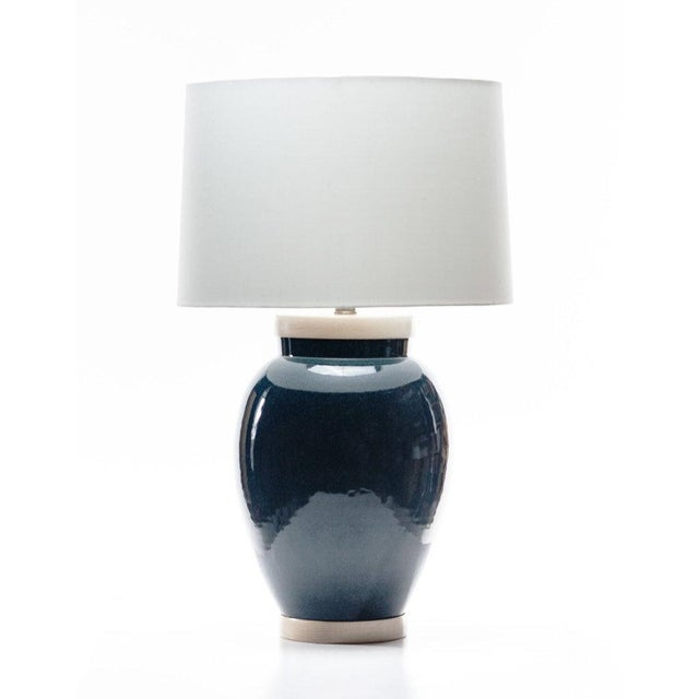 Lawrence & Scott Sybil Porcelain Table Lamp in Ocean Glaze For Sale In Seattle - Image 6 of 6