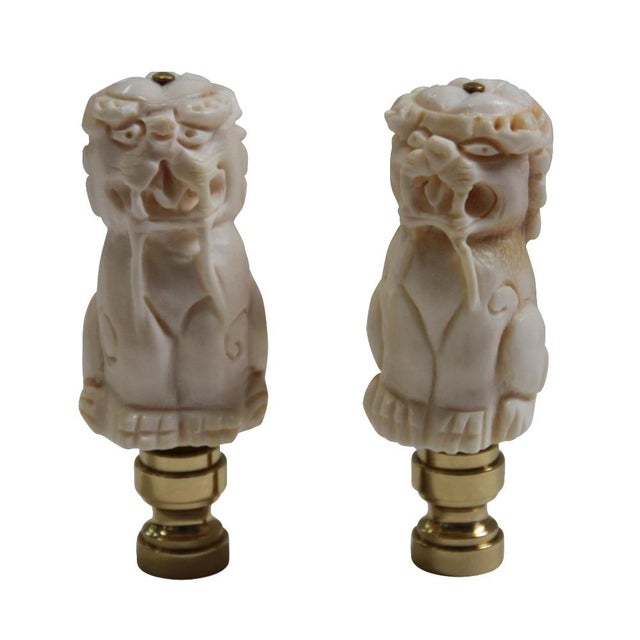 Foo Dog Lamp Finials - Pair - Image 4 of 4