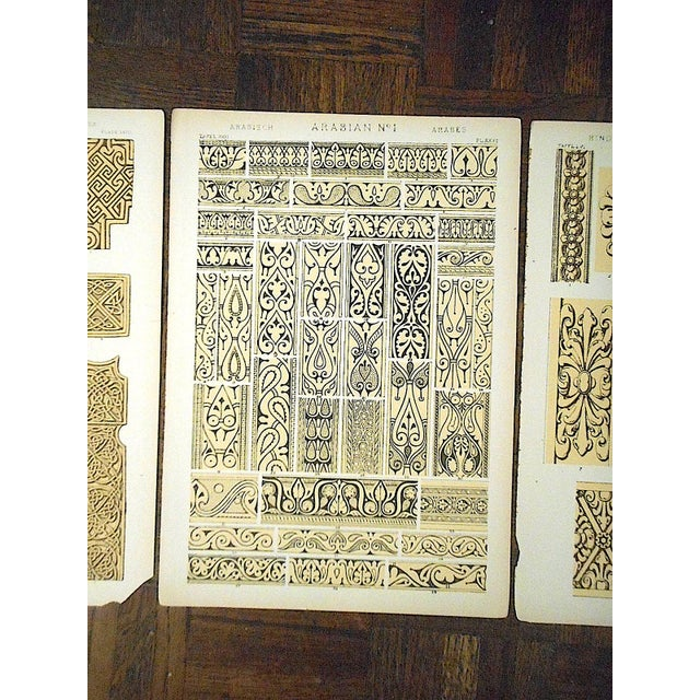 Boho Chic Set of 3-Authentic Antique Lithographs-Ornamental Designs For Sale - Image 3 of 5