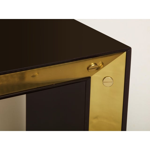 Brown Lacquered Console with Brass Accents For Sale In New York - Image 6 of 9