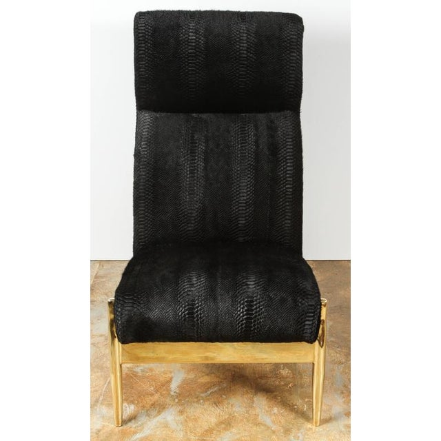 Metal Paul Marra Slipper Chair in Brass with Laser Cut Cowhide Python For Sale - Image 7 of 9